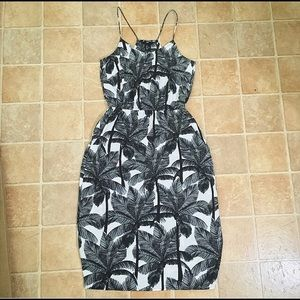 H&M Black and White Palm Tree Midi Dress
